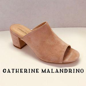 NWOT Catherine Malandrino Blush Nude Suede Mules